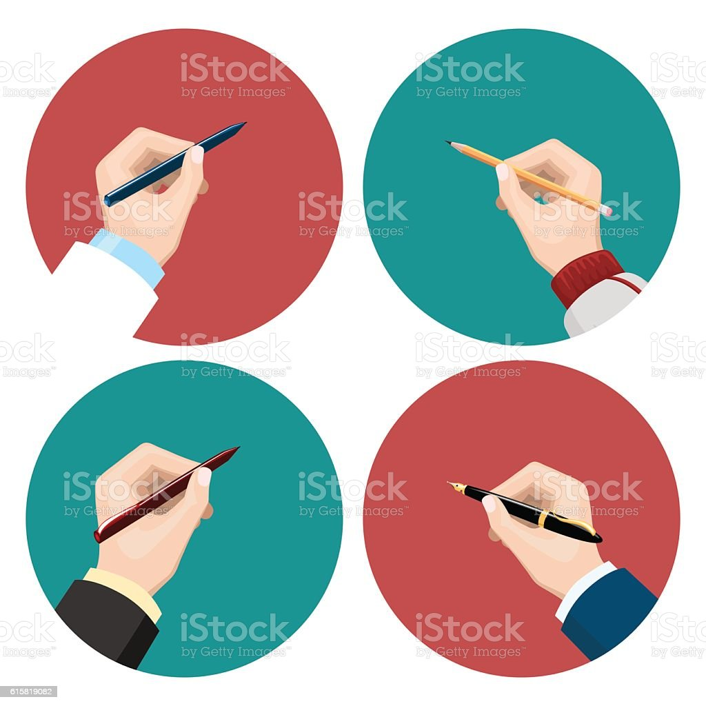 Writting flat icons set vector art illustration