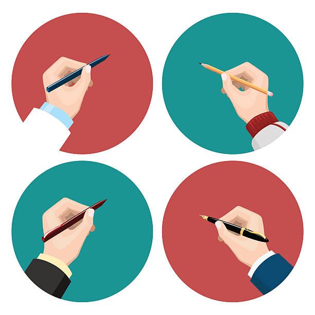 illustrazioni stock, clip art, cartoni animati e icone di tendenza di writting flat icons set - mancino