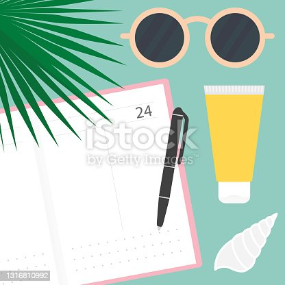 istock writting in calendar, diary, summer planning concept 1316810992