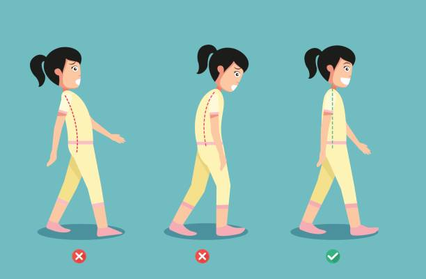 wrong and correct walking posture,illustration - physical therapy stock illustrations