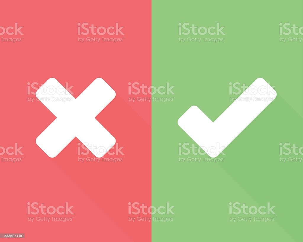 Wrong and right check mark flat icons with long shadow vector art illustration