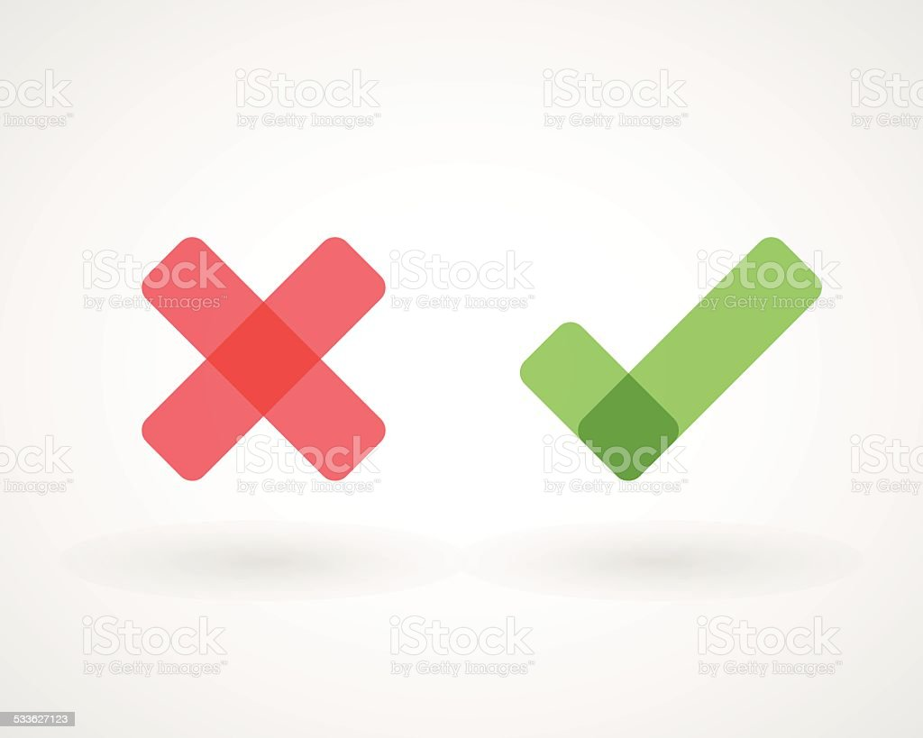 Wrong and right check mark icons vector art illustration