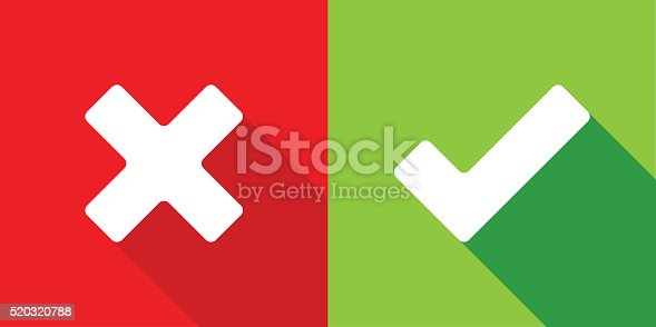 Wrong and right check mark flat design. Global Coluor used.