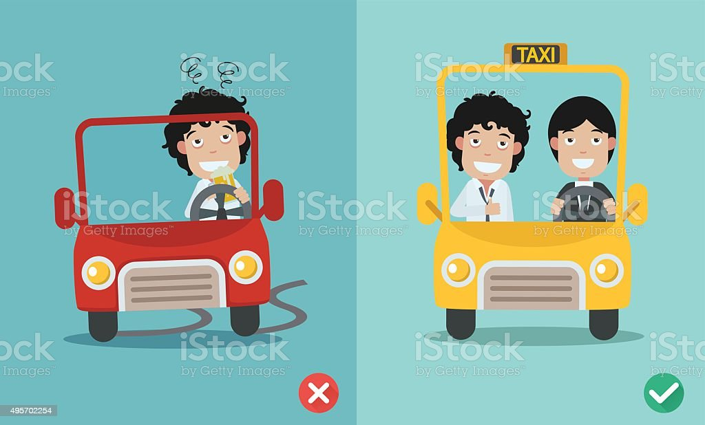 wrong and right for don't drink and drive vector art illustration