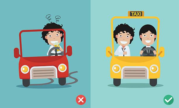 ilustraciones, imágenes clip art, dibujos animados e iconos de stock de mal y gire a la derecha para no bebida y automóvil - conductor