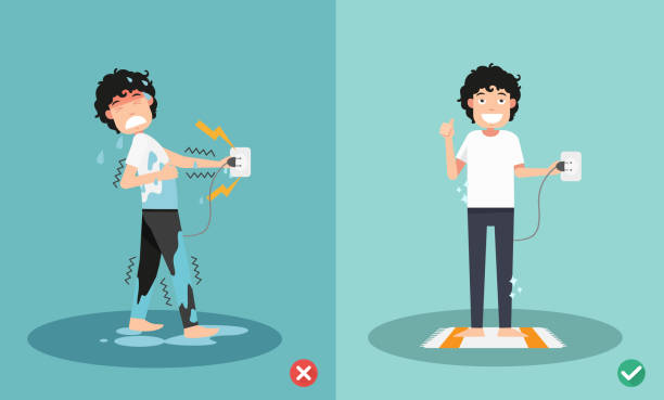 wrong and right for safety electric shock risk vector art illustration