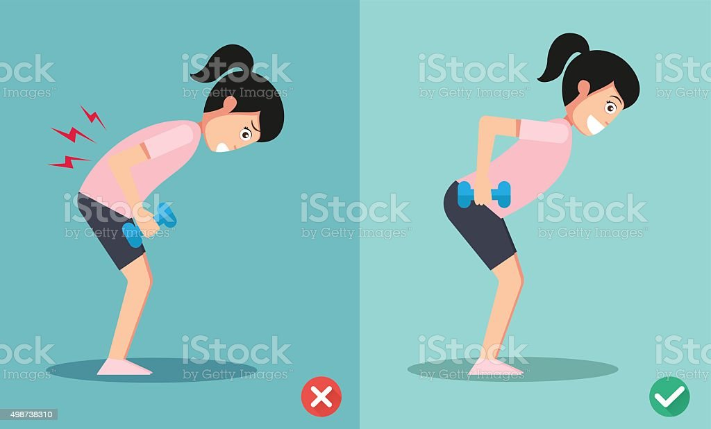 wrong and right lifting weight posture vector art illustration