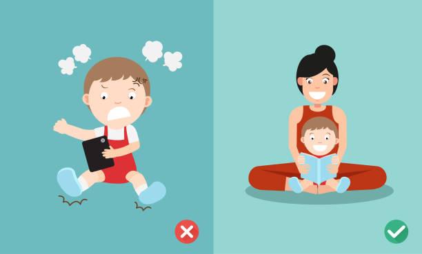 stockillustraties, clipart, cartoons en iconen met verkeerde en juiste manier voor kinderen stoppen met het gebruik smartphone - cell phone toilet