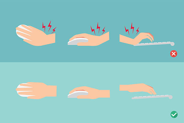 wrong and right ways for hand position vector art illustration
