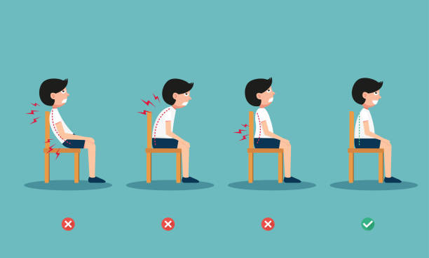 wrong and right ways positions for sitting vector art illustration