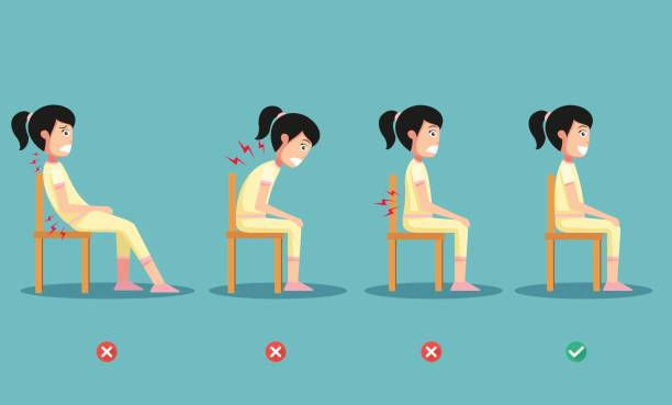 wrong and right ways positions for sitting,illustration wrong and right ways positions for sitting,illustration, vector good posture stock illustrations