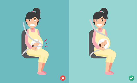 wrong and right ways wear seatbelt correctly when pregnant