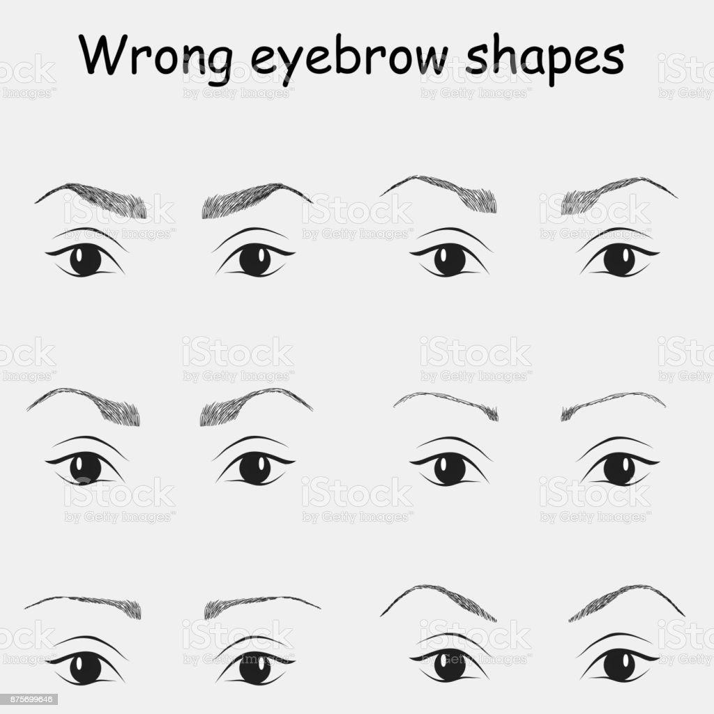 Wrong Eyebrow Shapes Illustration Stock Vector Art More Images Of