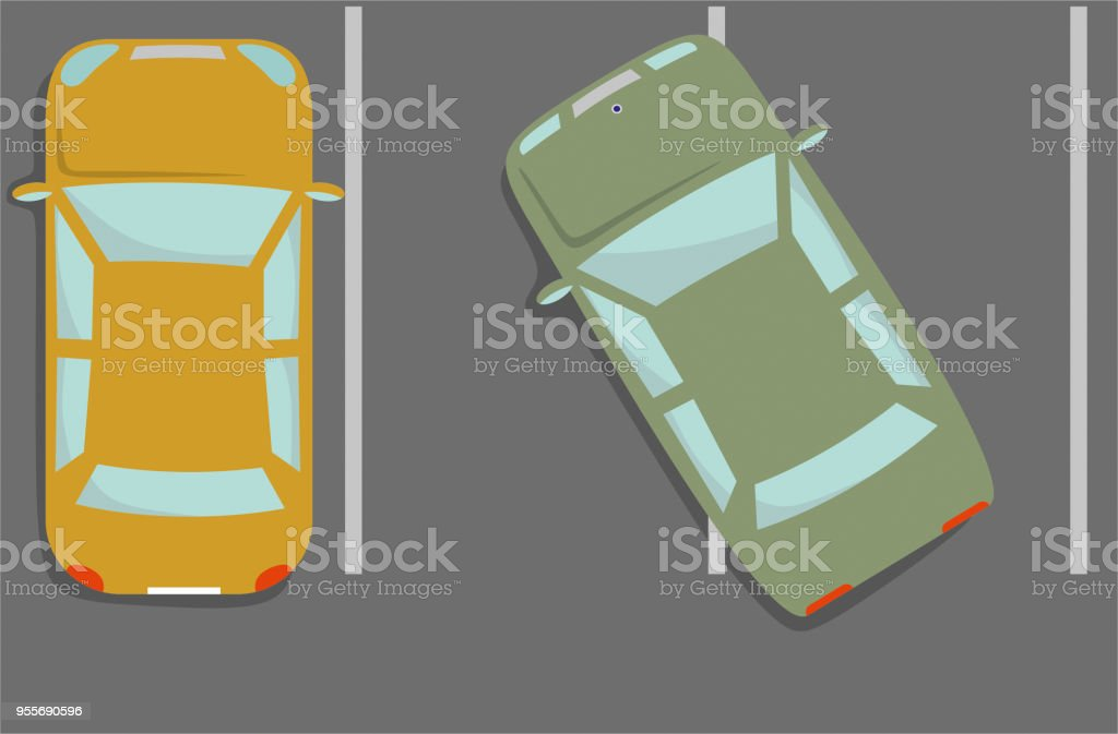 wrong parked car top view illustration vector art illustration