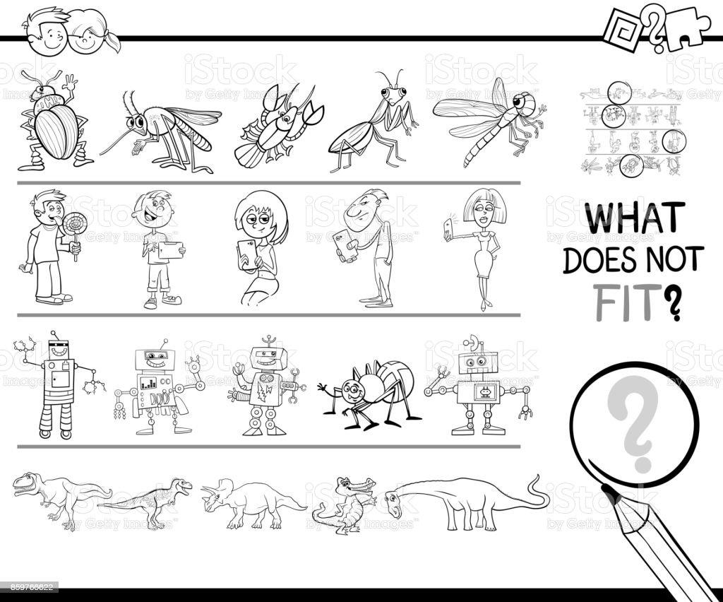 Yanlış Resim Satır Oyun Boyama Sayfası Stok Vektör Sanatı Anaokulu