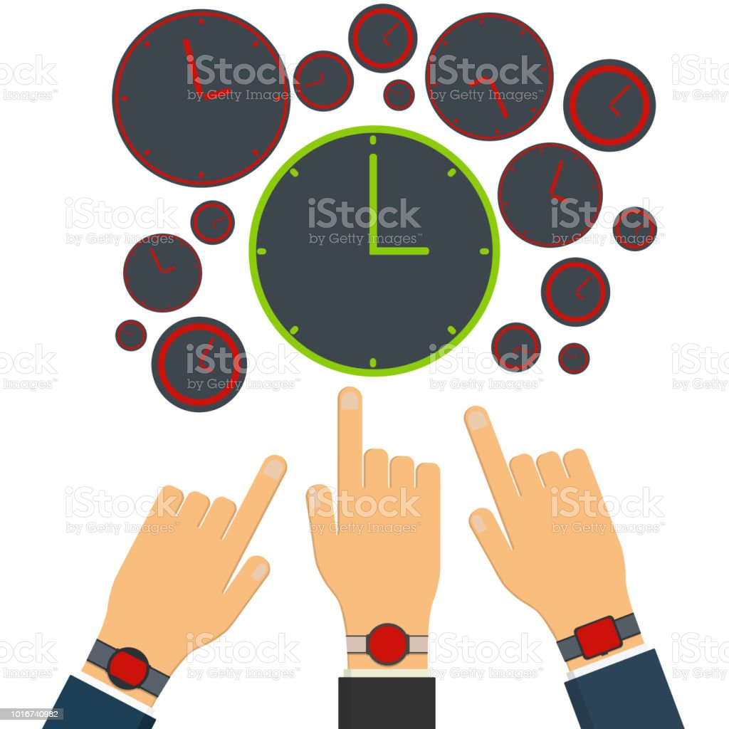 Wrong time on red clock and watches. Right time on green clock....