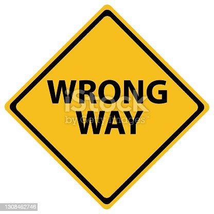 istock Wrong Way Road Sign 1308462746