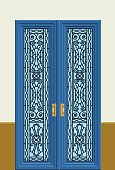 Navy  blue door illustration in vector format. PDF file available.