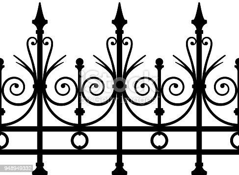 istock Wrought Iron Fence Seamless Art Deco 948949332