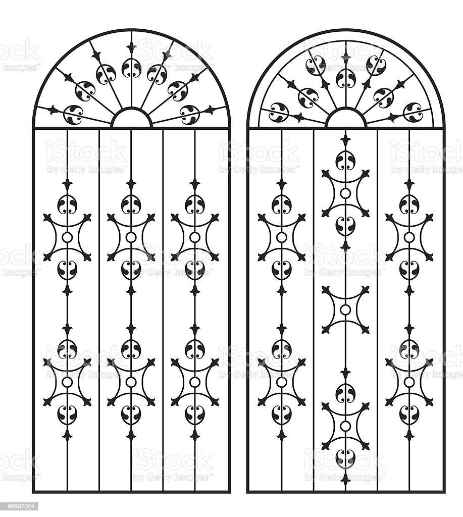 Wrought Iron Gate, Door, Window design royalty-free stock vector art