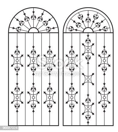 Wrought iron gate door window design stock vector art for Window design vector