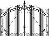Wrought iron gate that is closed