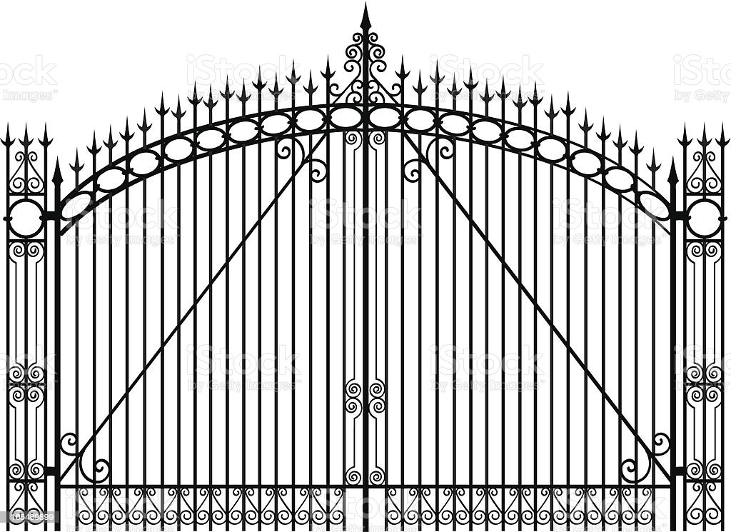 Wrought iron gate that is closed vector art illustration