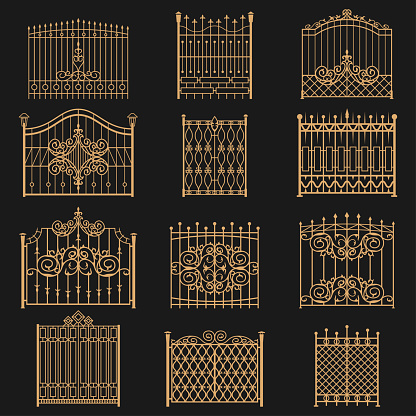 Wrought iron gate. Elegant barrier fence, or hedge for park, house, entrance or an opening for passage through a wall. Vector flat style cartoon illustration isolated on black background