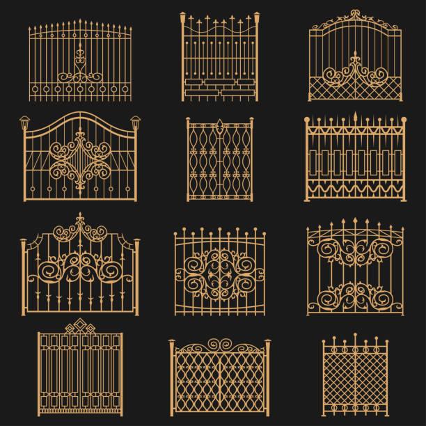 ilustrações de stock, clip art, desenhos animados e ícones de wrought iron gate - portão
