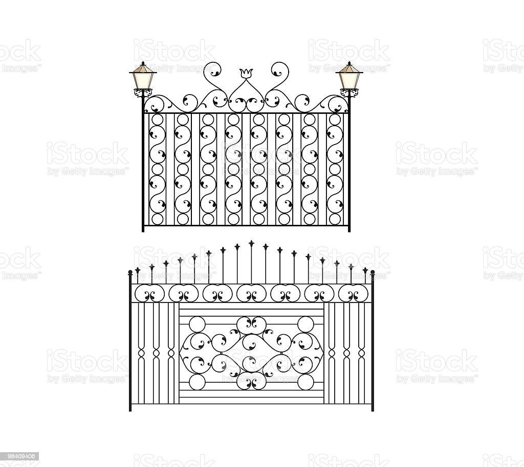 Cancello in ferro battuto cancello in ferro battuto - immagini vettoriali stock e altre immagini di antico - vecchio stile royalty-free