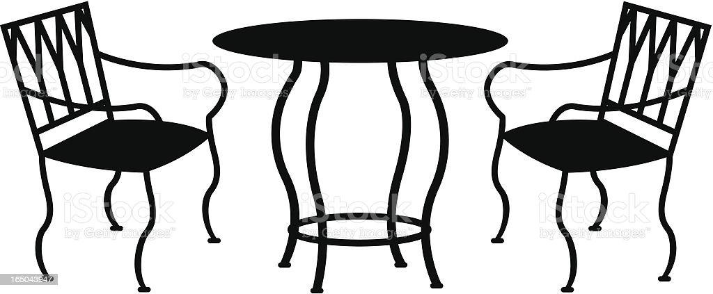wrought iron patio furniture royaltyfree stock vector art