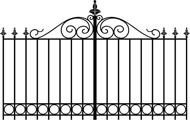 wrought iron4 vectorized wrought iron gate or entranceway gate stock illustrations