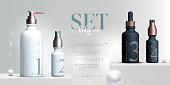 Vector 3D elegant cosmetic products set background premium cream jar packaging for skin care. Luxury facial cream. Cosmetic ads flyer or banner design. Cosmetic cream template. Makeup products brand.