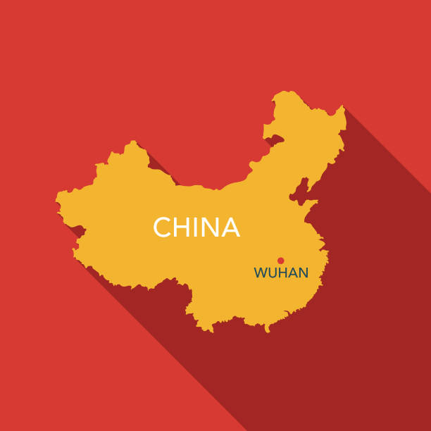 Novel Coronavirus COVID-19 China Map Icon A flat design Wuhan, China coronavirus COVID-19 icon with a long shadow. File is built in the CMYK color space for optimal printing. Color swatches are global so it's easy to change colors across the document. china stock illustrations
