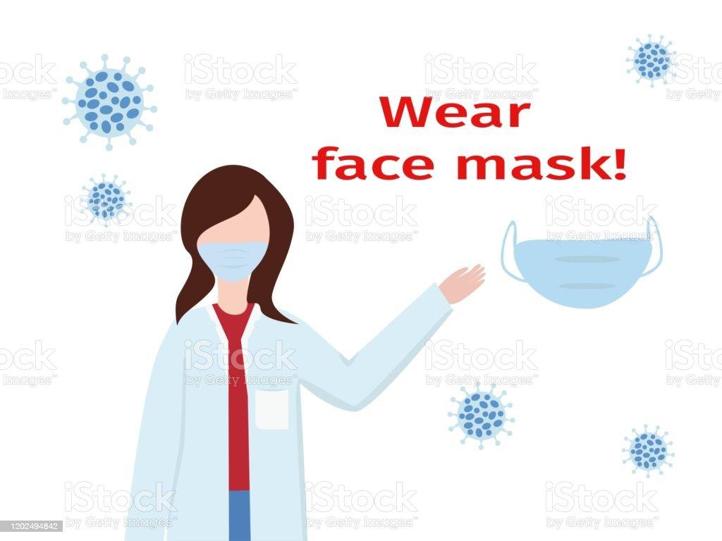 Wuhan Coronavirus 2019ncov Virus Symptoms Wear Face Mask Messge
