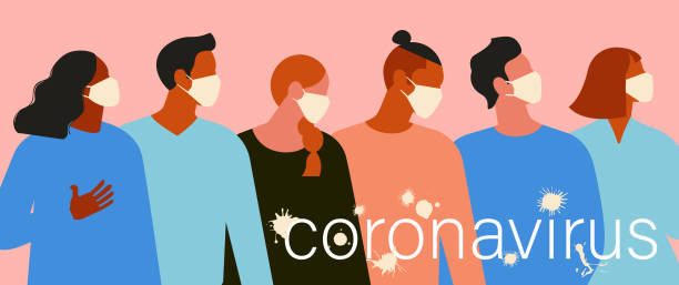 Wuhan Novel coronavirus (2019-nCoV), women and men with medical face mask. Concept of coronavirus quarantine. The virus is like blots. Vector Illustration. vector art illustration
