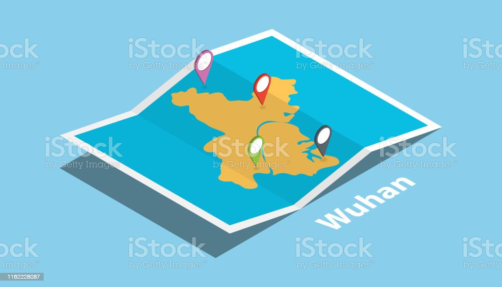 wuhan province hubei explore maps with isometric style and pin...