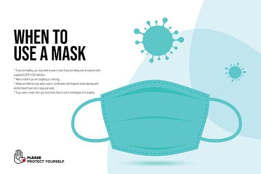 Wuhan Virus Disease vector icon with face mask. China Novel Coronavirus Disease concept design stock illustration. Covid-19 Vector Template