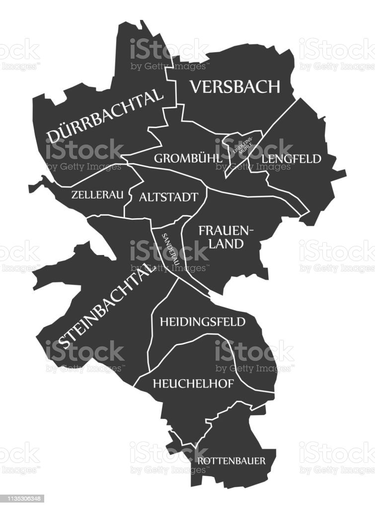 Wurzburg City Map Germany De Labelled Black Illustration ...
