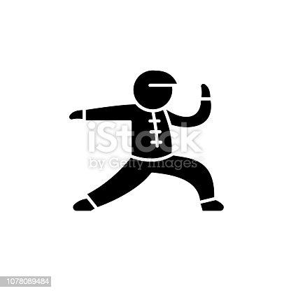 Wushu black icon, concept vector sign on isolated background. Wushu illustration, symbol