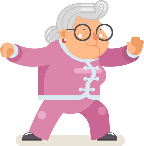 Wushu kungfu taichi fitness healthy activities granny adult old age woman character cartoon flat design vector illustration Wushu kungfu taichi fitness healthy activities granny adult old age woman character flat cartoon design vector illustration qigong stock illustrations