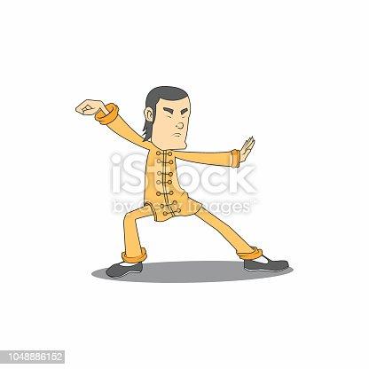 wushu character sport. vector illustration