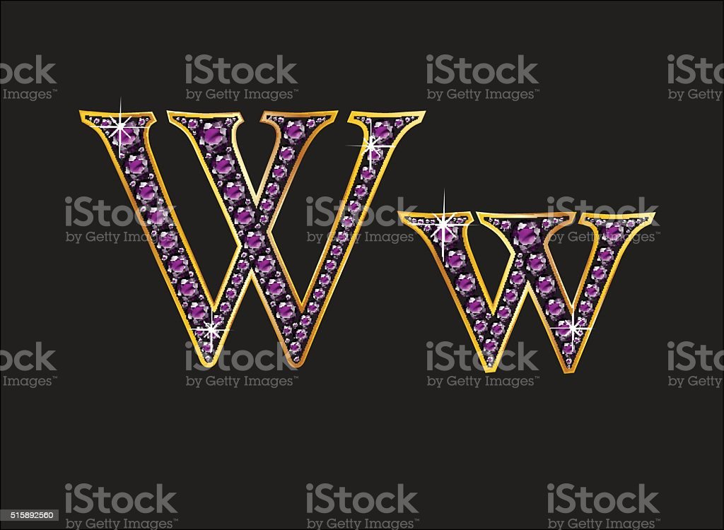 Ww Amethyst Jeweled Font with Gold Channels vector art illustration