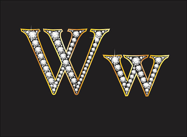 Ww Diamond Jeweled Font with Gold Channels vector art illustration