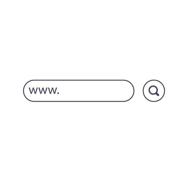 stockillustraties, clipart, cartoons en iconen met www zoekbalk pictogrammen. de illustratie van de vector die op achtergrond wordt geïsoleerd. www zoekbalk pictogram voor website, app, ui en logo. concept zoeken en www - raam bezoek