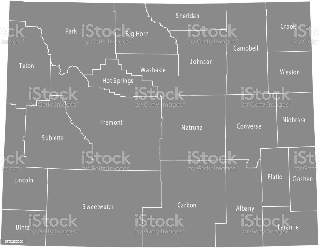 Wyoming County Map Vector Outline Illustration In Gray Background