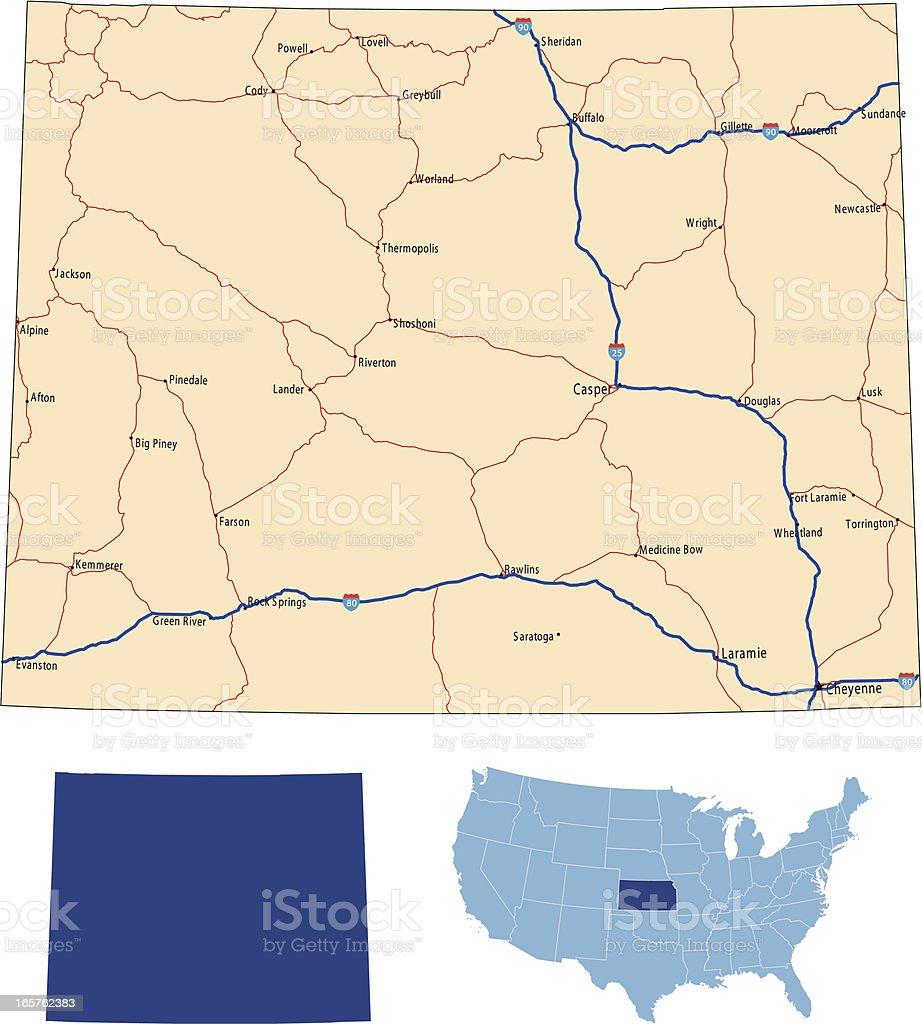 Wyoming road map royalty-free stock vector art
