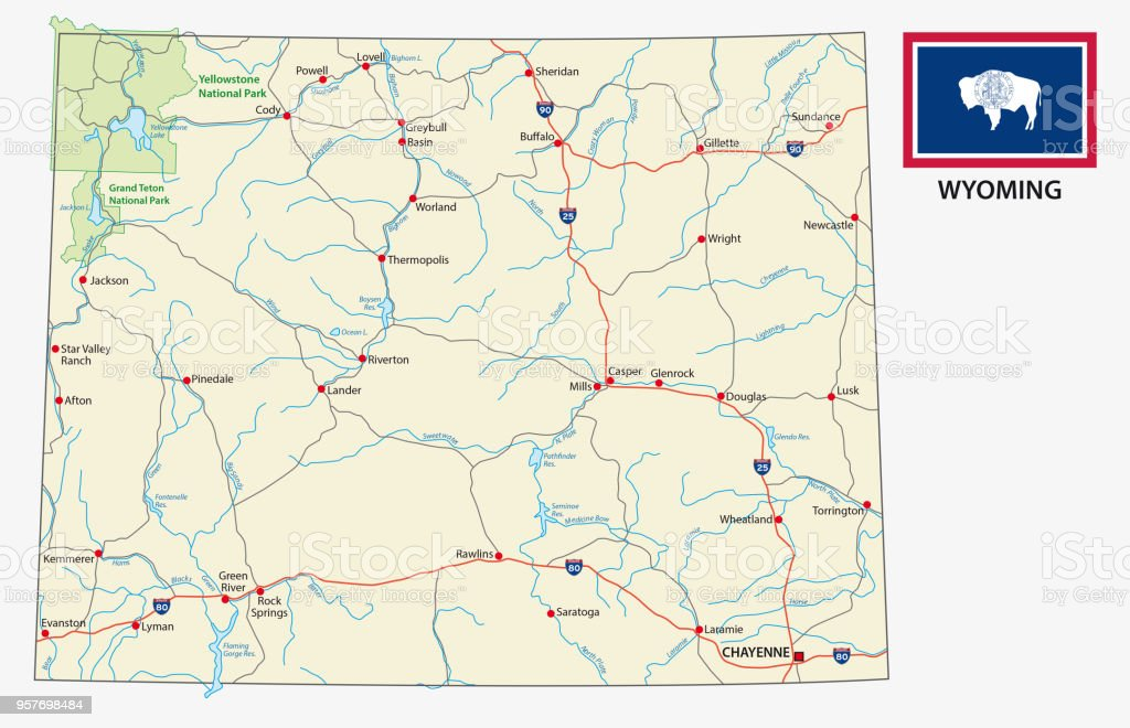 Wyoming Road Map With Flag Stock Illustration - Download ...
