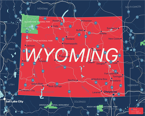 Wyoming state detailed editable map