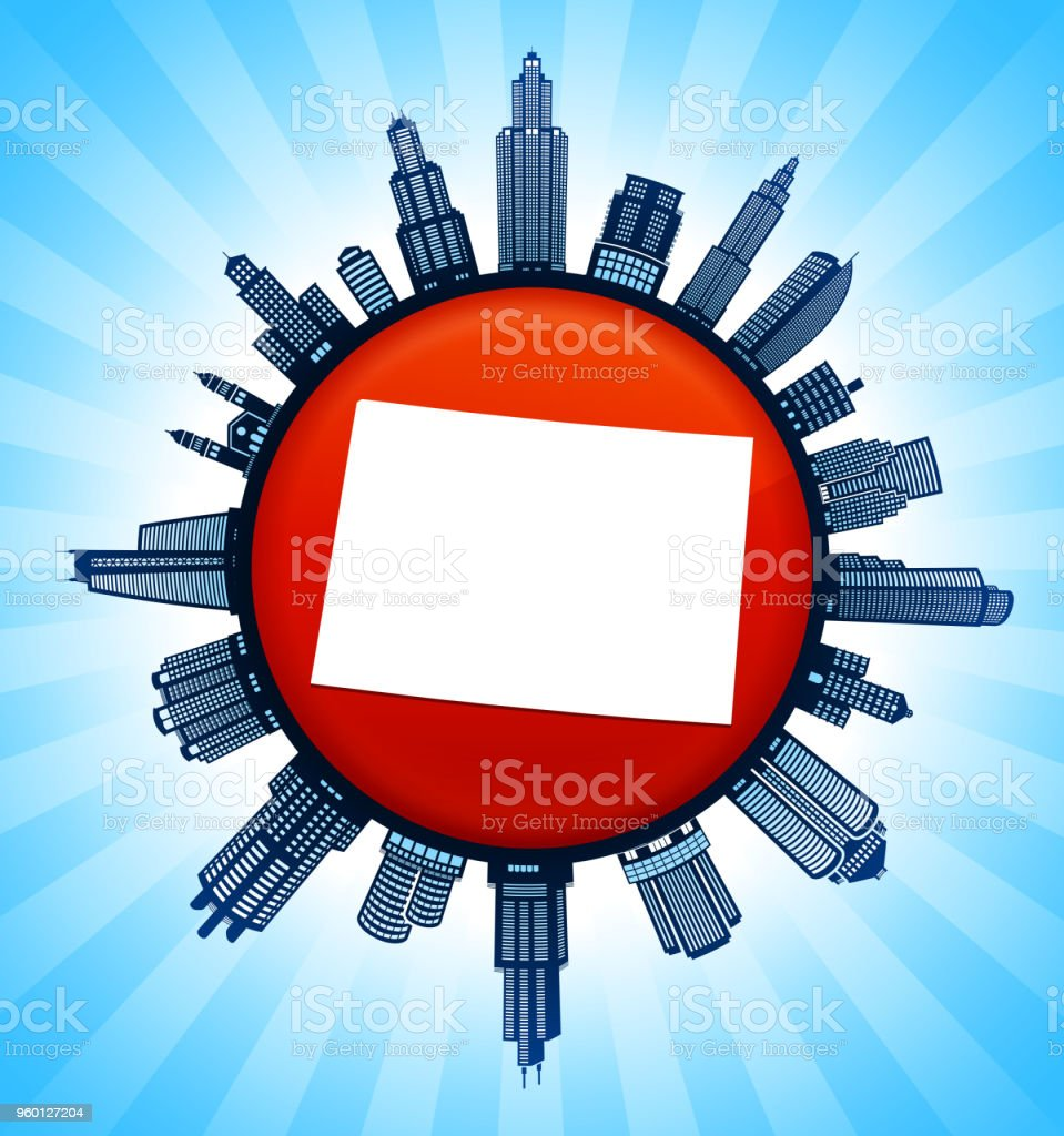Wyoming State Map On Republican Red City Skyline Background Stock ...